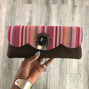 Handbags - Multi Textured Clutch w/stripes and beading